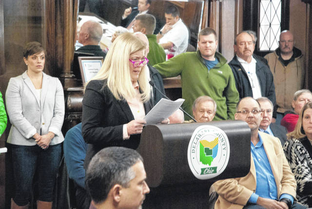 All eyes were on Liberty Township Trustee Melanie Leneghan as she spoke during Thursday's Delaware County Board of Commissioners meeting. Leneghan said she sees partnering with the county EMS as a significant opportunity for both the county and township.