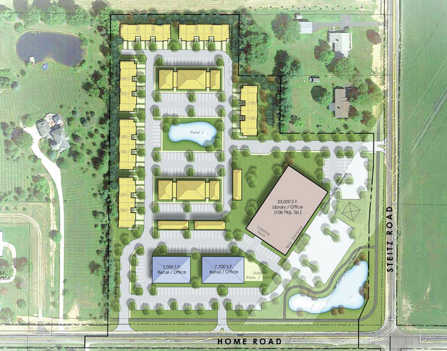 Pictured is a rendering of the proposed development at the northwest corner of Home and Steitz roads, just west of Indian Spring Elementary School and Liberty High School. The proposal calls for apartments (pictured in yellow), retail/office buildings (blue), and a 25,000-square-foot library/office building (red), which could be the future site of a new Delaware County District Library branch.