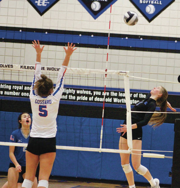 Olentangy Liberty's Claranne Fechter, right, winds up for one of her 22 kills during Saturday's Division I regional championship against Olentangy Orange.