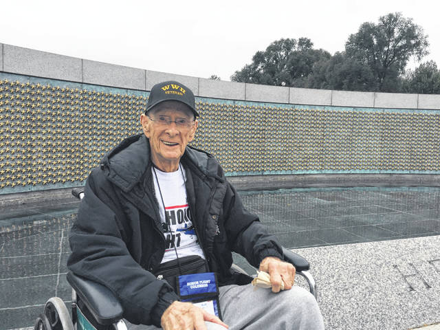 Delaware resident and World War II veteran Lee Siegwald is pictured in front of the 4,048 gold stars on display at the World War II Memorial in Washington, D.C. Each star represents 100 American military deaths during WWII. Siegwald recently visited the nation's capital thanks to Honor Flight Columbus.