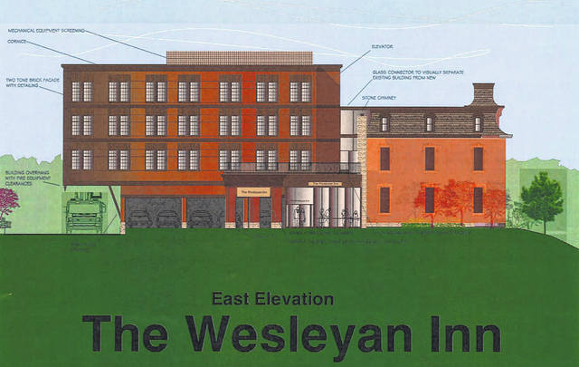On Monday, Delaware City Council approved plans for the Wesleyan Inn, an new hotel near the Ohio Wesleyan campus on West William Street. The plans involve renovating the historic Perkins House that will serve as the front half of the hotel. Pictured is an east elevation rendering of the Wesleyan Inn.