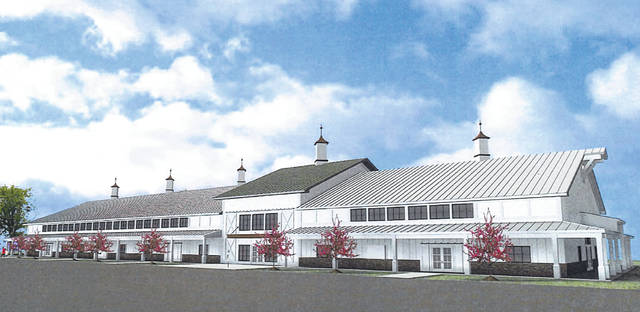 Pictured is a rendering of the proposed 4-H building that would replace the Junior Fair Building at the Delaware County Fairgrounds. The proposal will be introduced to Delaware City Council on Monday.