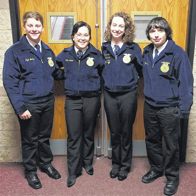 For the second year in a row, the Big Walnut - DACC FFA chapter has won the state Food Science & Technology CDE. This qualifies the chapter to compete in the 92nd National FFA Convention & Expo. Pictured, left to right, are Kyle Lortz, Jillian Salmon, Caroline Elicson and Chris Dible.