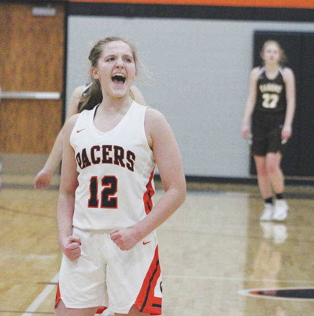 Delaware Hayes' Chloe Jeffers celebrates after hitting a three-pointer to end the first half of Friday's non-league showdown against visiting Buckeye Valley.