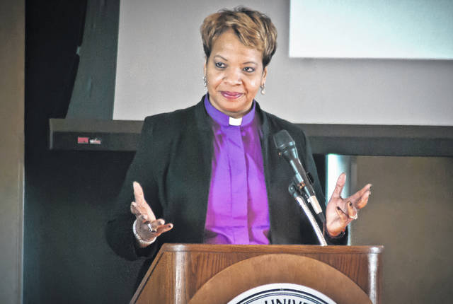 Bishop Tracy S. Malone, resident bishop of the East Ohio Conference of the United Methodist Church, served as the featured speaker of this year's annual Martin Luther King Jr. breakfast Monday morning. Though temperatures were below zero, the Benes Room at Ohio Wesleyan's Hamilton-Williams Campus Center was filled to capacity for the 26th annual MLK Breakfast Celebration.