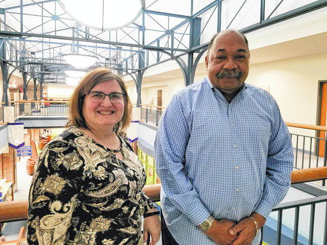 Pictured are Delaware County District Library Board of Trustees President Brenda Eldridge, left, and Vice President Michael Butler.