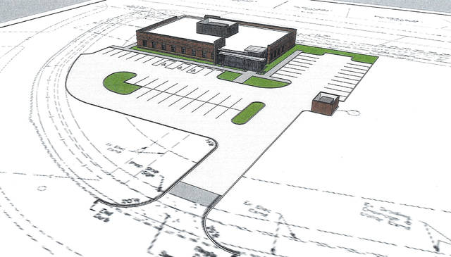Pictured is a rendering of the OhioHealth medical facility proposed for the west side of Delaware. The entrance to the facility would be located off of Lansdale Drive. The back of the facility would face West William Street.