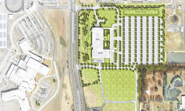 Pictured is a rendering of the phase one site plan submitted by The Ohio State University for the planned Wexner Medical Center - Regional Ambulatory Facility to be located on Sawmill Parkway, directly across from Olentangy Liberty High School.