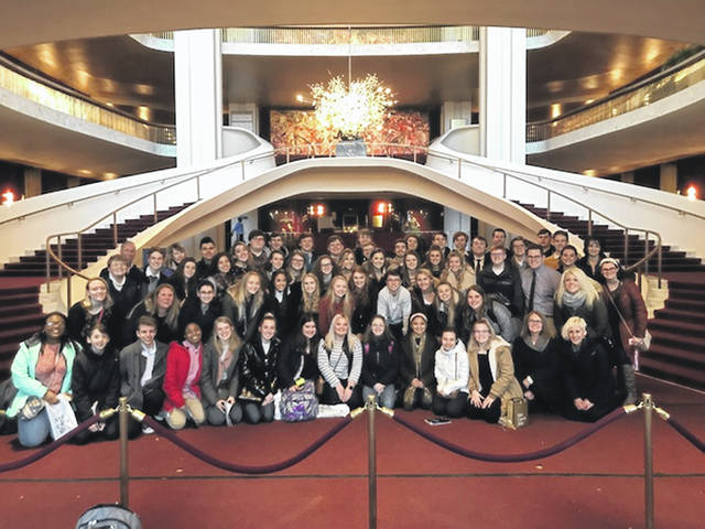 The Hayes High School students on the New York trip pose for a photo at the Metropolitan Opera last week.