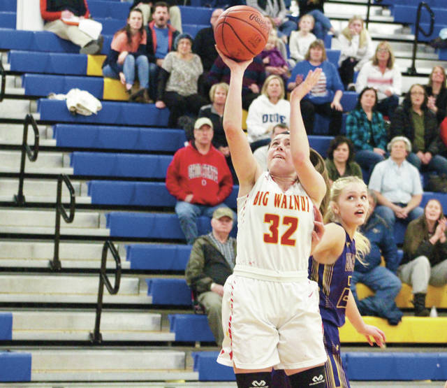 Big Walnut's Payton Carter (32) puts up a shot in the first half of Tuesday's Division II district tournament game in Gahanna.