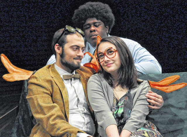 "Max Haupt and Jasmine Lew (front), and Michael Sutton perform playwright David Ives' ""Time Flies"" as part of Ohio Wesleyan University's ""Just One Step"" theatre and music production. The show will run Feb. 21-24."