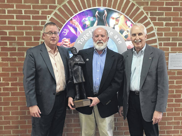 Pictured, left to right, are OhioHealth Grady Memorial Hospital President Steve Bunyard, and Hayes Heritage Fund Committee members Bill Rietz and Jack Hilborn. Rietz is pictured holding a replica of the 7-foot statue of President Rutherford B. Hayes that will be placed in downtown Delaware. The committee this week announced a $25,000 gift from OhioHealth for the project.
