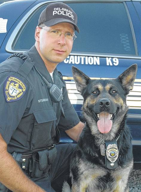 K9 Sgt. Argo with Patrol Officer David Sturman. Argo and Sturman worked together from 2007 until Argo retired in 2015.