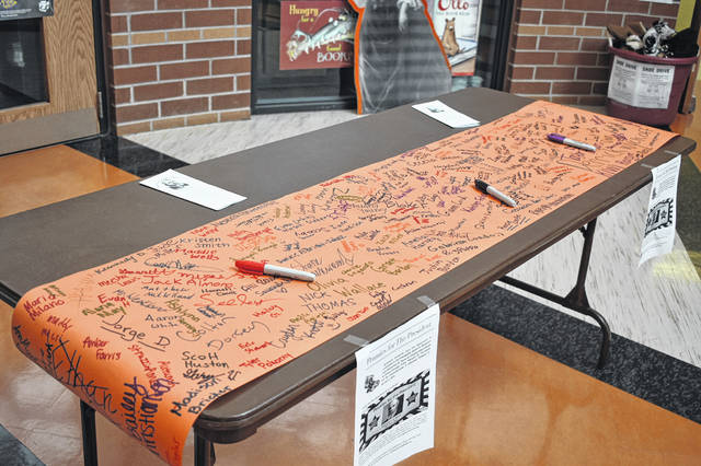 A scroll in the rotunda of Hayes High School that was signed by students during the Pennies for the President event. Hayes Principal Richard Stranges said the scrolls will be rolled up and placed inside the statue.