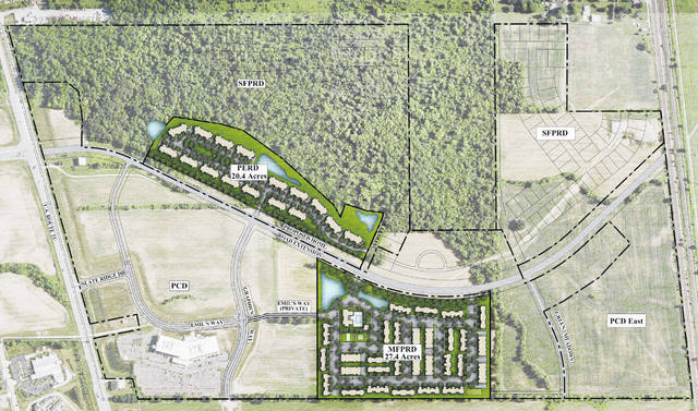 Pictured is a rendering of the Schottenstein Real Estate Group's planned development along the upcoming Home Road extension east of U.S. Route 23. In the rendering, U.S. Route 23 is shown to the left, and the Home Road extension is pictured running west to east between the proposed development sites.