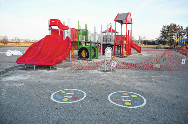 The accessibility/inclusion area for the community playground at Hylen Souders Elementary awaits resurfacing.