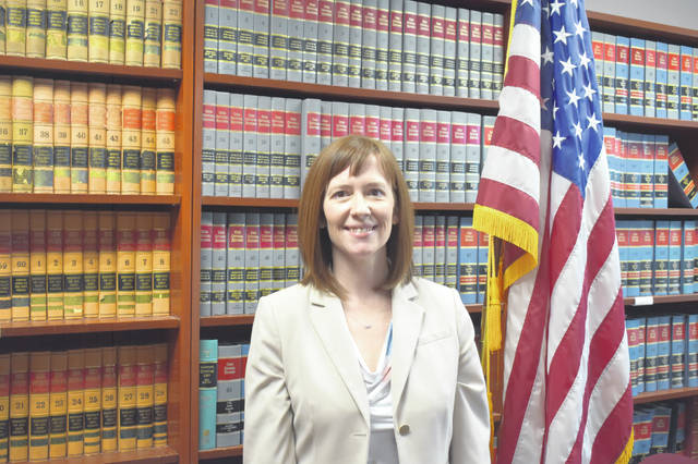 Delaware County Prosecutor Melissa Schiffel poses for a photograph Monday in the Delaware County Prosecutor's Office. Schiffel was sworn in Friday afternoon to serve out the rest of Carol O'Brien's unexpired term, which runs through November 2020.