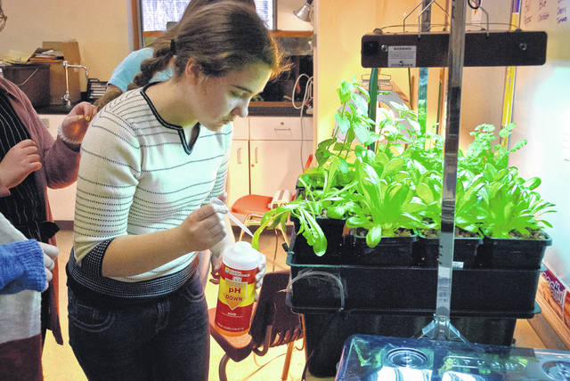 Through trial and error, the Water Rocket Hydroponics Club at Buckeye Valley Middle School has learned to adjust the pH level of the Root Spa. Katie Mampe adds pH Down to lower the balance using a pipette to add a little at a time so she doesn't overcorrect the level.