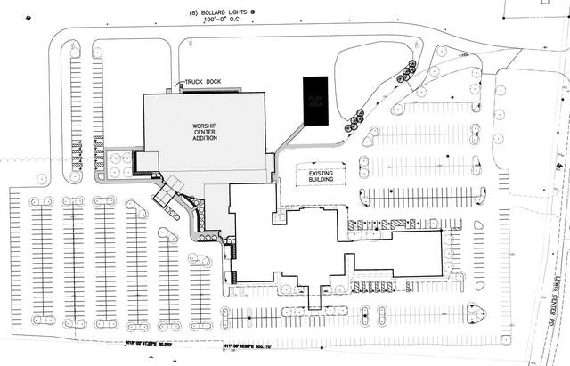 The revised plans for Genoa Baptist Church.
