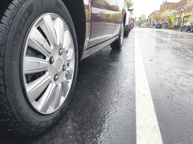 A vehicle sits parked in a two-hour spot on East Winter Street Thursday afternoon. Until Monday, parking officers used chalk to mark vehicle tires to ensure drivers weren't parking their vehicles in the same spot for longer than the posted time limit.