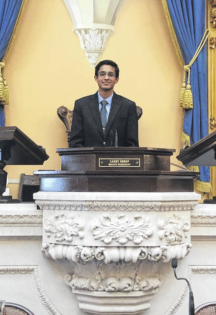 Olentangy High School senior Karan Agrawal earned a spot in the National Speech and Debate Tournament in June after winning an event at the Ohio Statehouse last month.