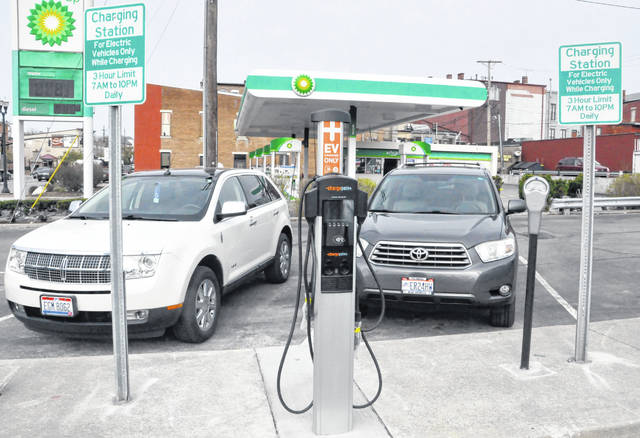 Pictured is the charging station located near the entrance to the city parking lot on East William Street in Delaware.