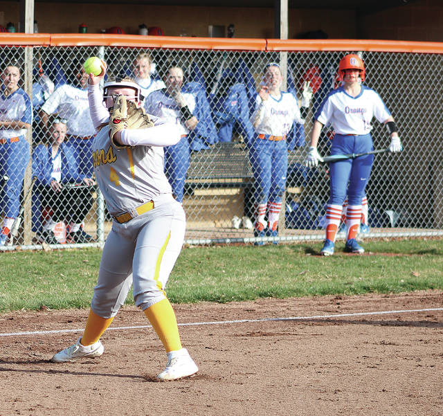 Buckeye Valley's Rylee George fires to first base after fielding a bunt by Orange's Tristan Hatfield during Monday's non-league showdown in Lewis Center.