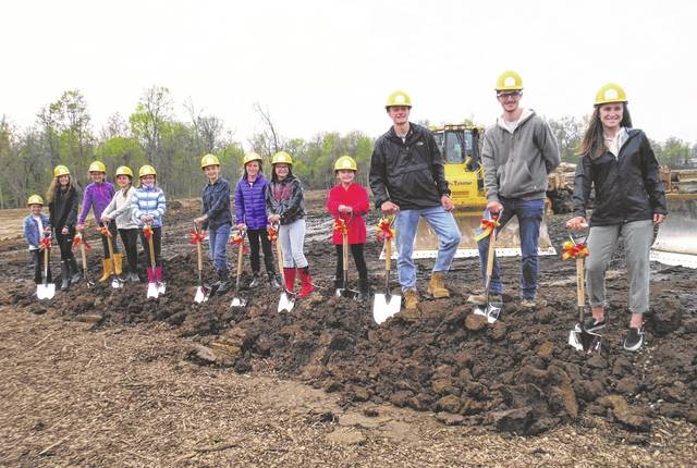 Big Walnut students of the month for the 2018-19 school year pose at the groundbreaking held Tuesday for the district's newest school buildings.