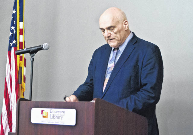 "During a press conference early Wednesday morning, Delaware County District Library Director George Needham, pictured, announced that due to ""veiled threats"" of violence, the female impersonation program Drag 101 has been canceled."