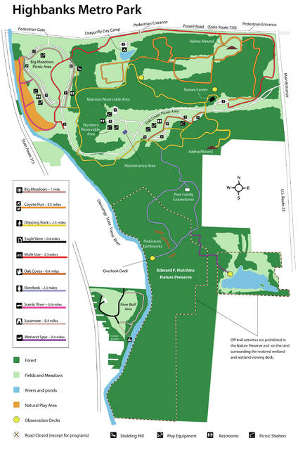 A map of Highbanks Metro Park in southern Delaware County, just north of Columbus.