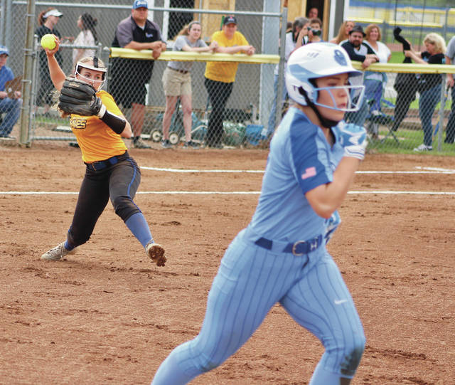 Olentangy's Brooke Wells fires to first base as Olentangy Berlin's Lexie Lewis hustles down the line during Thursday's non-league showdown in Lewis Center.