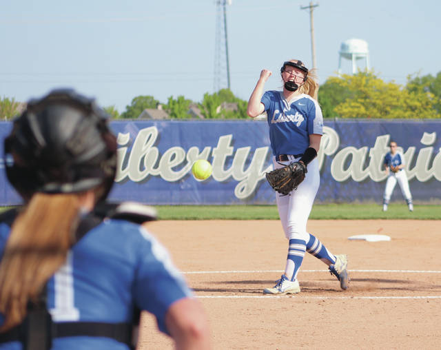 Olentangy Liberty's Katelyn Wilhelm fires a pitch toward home plate during Wednesday's Division I district tournament game against visiting Newark.