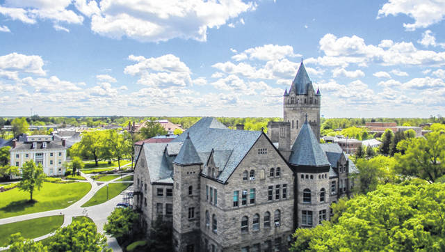 A view from above of the Ohio Wesleyan University campus in Delaware.