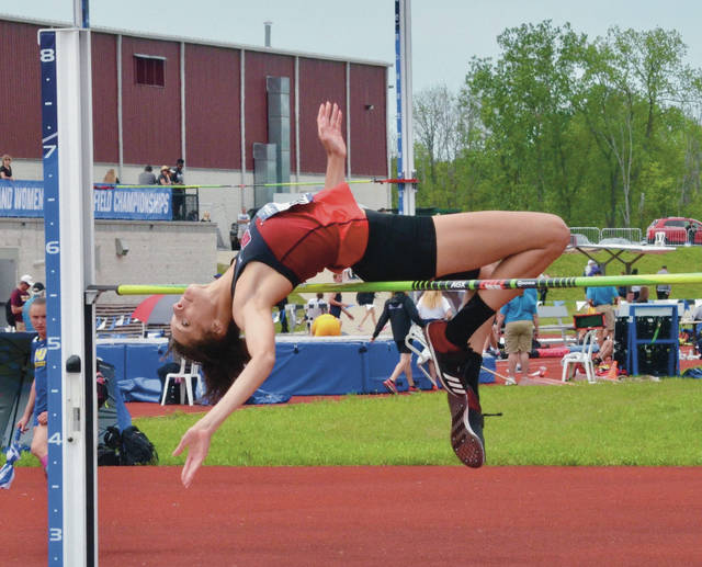 Ohio Wesleyan's Cirrus Robinson clears 5-7, the height that would win her the national championship at Friday's NCAA Division III outdoor championship meet at SPIRE Institute in Geneva, Ohio.