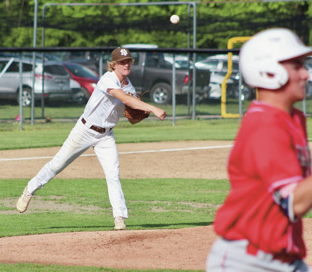 Buckeye Valley's Andy Anthony fires to first base to get an out during Tuesday's Division II district tournament game against visiting London.