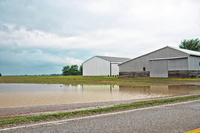 Rob Leeds, The Ohio State University Extension Office Delaware County Agricultural and Natural Resources educator, updated the Delaware County Board of Commissioners Monday on the current crop situation in the county. Since the fall of 2018, the wet weather has put area farmers behind getting crops planted and harvested. Many of the fields are either to wet to plant or they have been planted but underwater, much like this field on Leonardsburg Road.