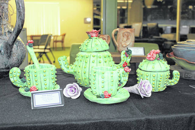 "Pictured is Emily Hansel's ""Cactus Tea Set"" ceramic project. The Olentangy High School student's project was awarded first place last month by the staff at the Delaware County District Library."