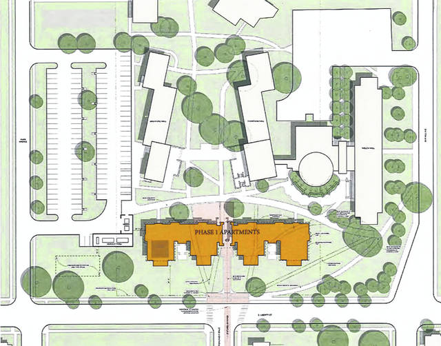 Pictured is a site plan showing where the proposed residence hall would be built on the OWU campus. Pictured at the bottom of the rendering is South Liberty Street, while Park Avenue and Oak Hill Avenue are pictured to the left and right, respectively.