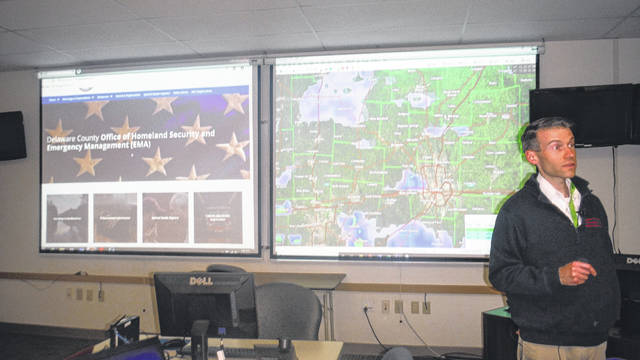 Sean Miller, director of Emergency Management for Delaware County, speaks during a press conference at the agency's Delaware office on Monday. Miller addressed concerns over a tornado shelter that failed to open over the weekend.