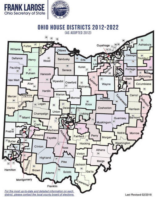 This is the current district map for the Ohio House of Representatives.