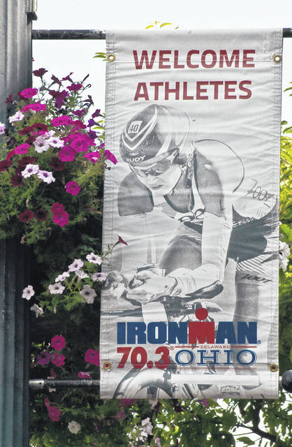Light poles throughout downtown Delaware have been decorated with Ironman banners in anticipation of Sunday's IRONMAN 70.3 Ohio.
