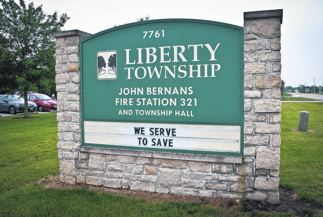 The sign for the Liberty Township hall.