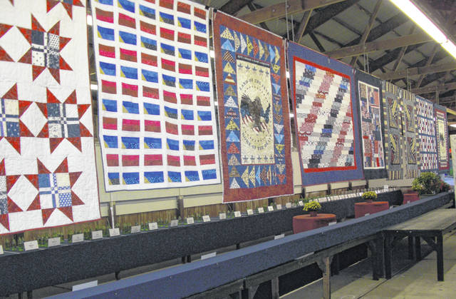 Pictured are the veterans quilts on display during a previous Delaware County Fair.