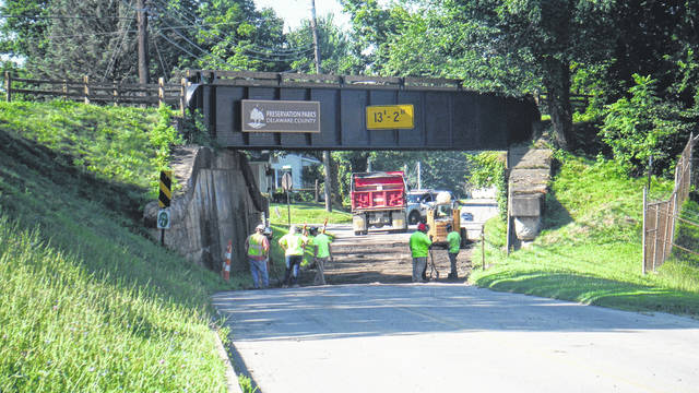 The road under the Sandel Trail bridge is being repaired in Sunbury, with local police limiting traffic in both directions on Columbus Street. There's also work at Letts Avenue.