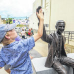 Smiling, waving Neil Armstrong statue greets visitors to downtown Wapakoneta