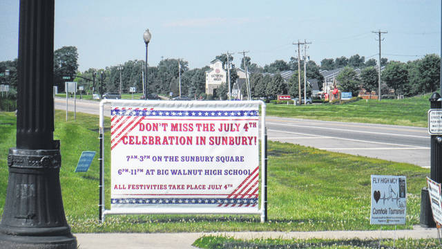 A sign at the corner of state Route 3 and U.S. Route 36/state Route 37 lets motorists know what's happening in Sunbury on Thursday.