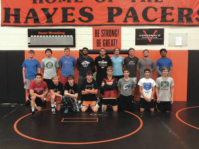 Members of the Delaware and Olentangy Berlin wrestling teams pose for a picture with Team USA wrestlers Tyler Graff (bottom left), Pat Downey (top center) and G'Angelo Hancock (left of Downey) during a training camp for the Junior Olympic Games this week at Hayes High School.