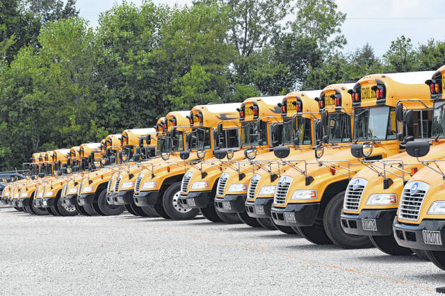 Part of the Delaware City Schools' bus fleet Tuesday afternoon at the Transportation Depot on Liberty Road. Director of Facilities and Transportation Jason Sherman said the buses were inspected and serviced earlier this year, and everything is ready to go for the start of the school year.