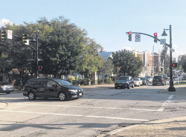 Left-hand turns at the Four Corners intersection, pictured, in downtown Powell will soon be prohibited daily between the hours of 7 a.m. and 7 p.m.