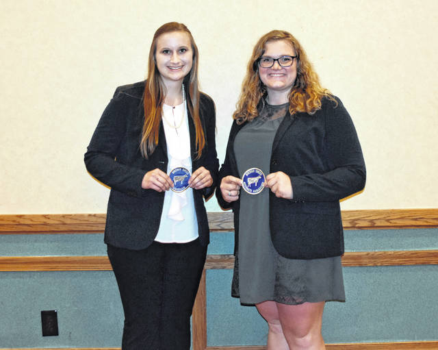 Pictured, left to righ, at the National Brown Swiss Convention held recently in Buffalo, New York, are Sarah Lehner, Delaware, and Kaylen Miller, Orangeville, Illinois. Lehner was selected as the 2019-2020 National Brown Swiss Youth Ambassador, while Miller was named the alternate.